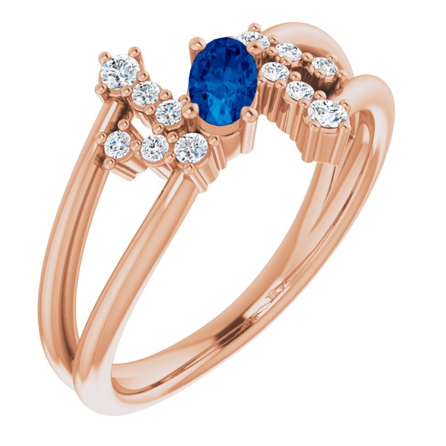 Genuine Chatham Created Sapphire Ring in 14 Karat Rose Gold Chatham Created Genuine Sapphire & 1/8 Carat Diamond Bypass Ring