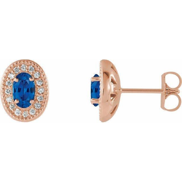 Created Sapphire Earrings in 14 Karat Rose Gold Chatham Created Genuine Sapphire & 1/8 Carat Diamond Halo-Style Earrings