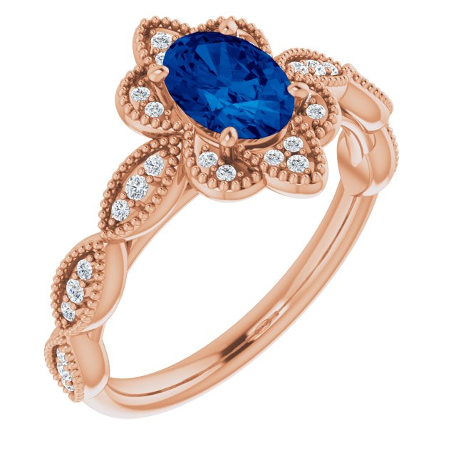 Genuine Chatham Created Sapphire Ring in 14 Karat Rose Gold Chatham Created Genuine Sapphire & 1/8 Carat Diamond Ring