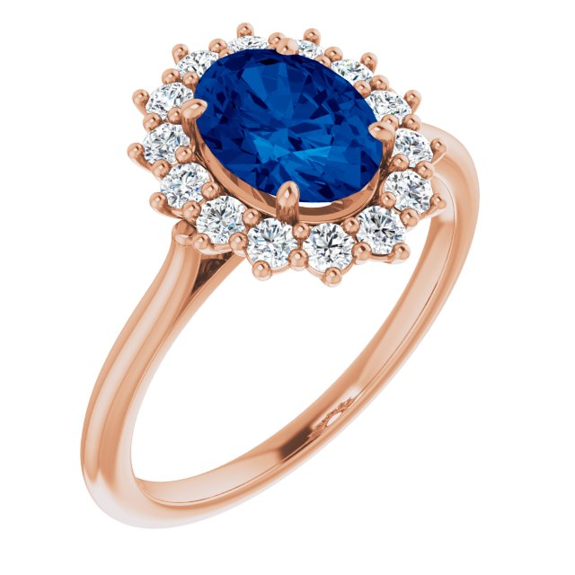 Genuine Chatham Created Sapphire Ring in 14 Karat Rose Gold Chatham Created Genuine Sapphire & 3/8 Carat Diamond Ring