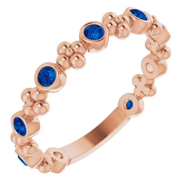 Genuine Chatham Created Sapphire Ring in 14 Karat Rose Gold Chatham Created Genuine Sapphire Beaded Ring