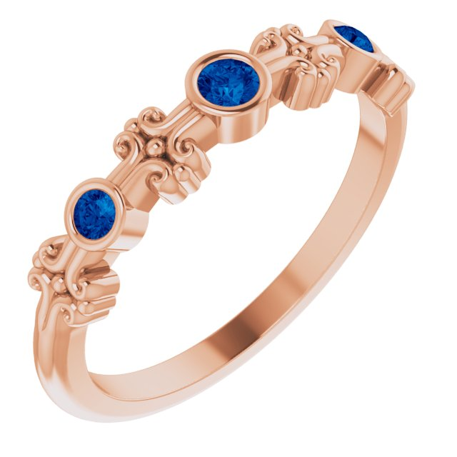 Genuine Chatham Created Sapphire Ring in 14 Karat Rose Gold Chatham Created Genuine Sapphire Bezel-Set Ring