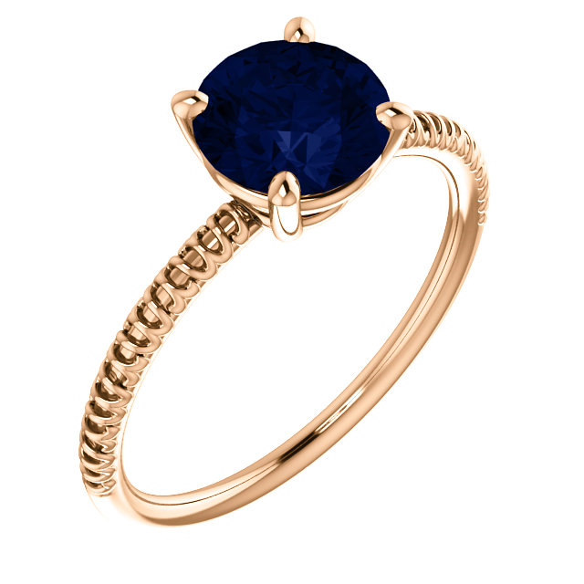 Very Nice 14 Karat Rose Gold Genuine Chatham Created Created Blue Sapphire Ring