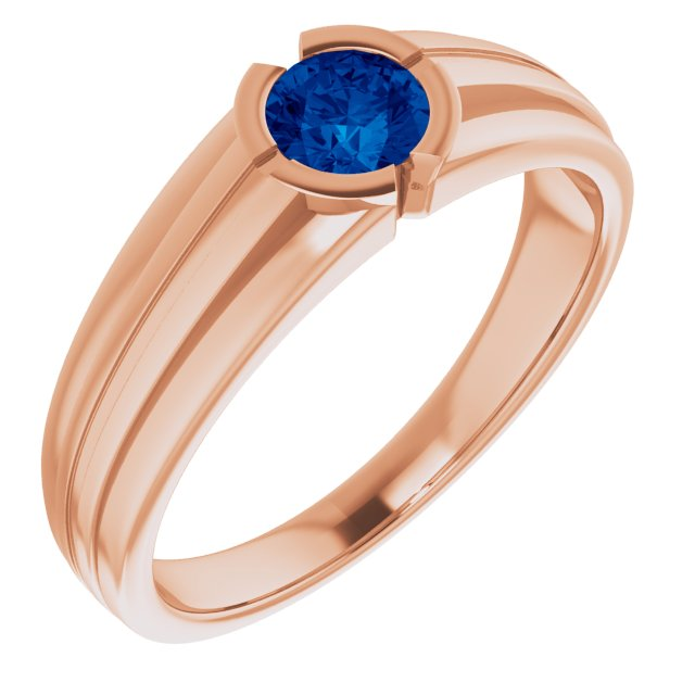 Genuine Chatham Created Sapphire Ring in 14 Karat Rose Gold Chatham Created Genuine Sapphire Ring