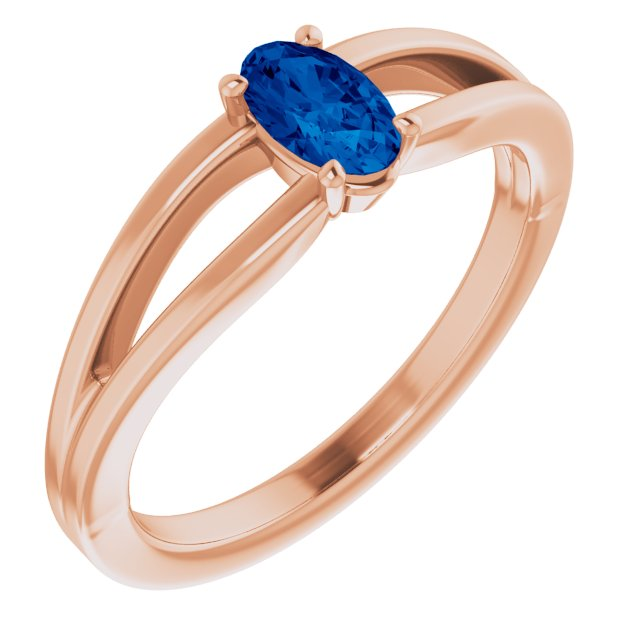 Genuine Created Sapphire Ring in 14 Karat Rose Gold Chatham Created Genuine Sapphire Solitaire Youth Ring