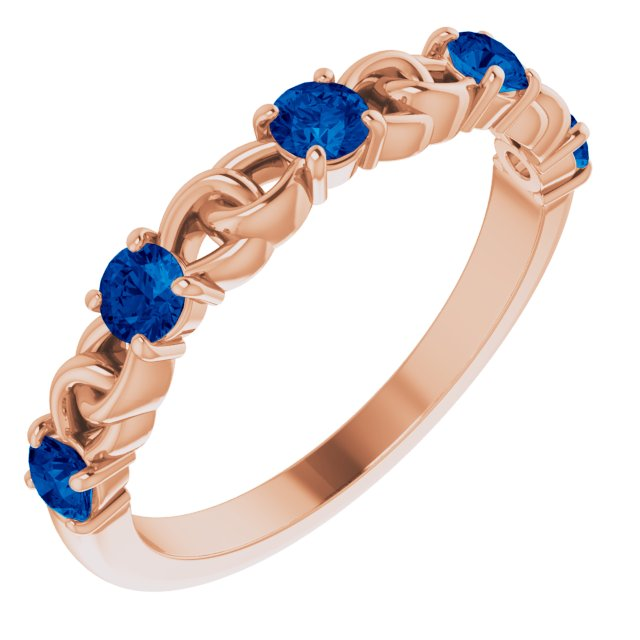 Genuine Chatham Created Sapphire Ring in 14 Karat Rose Gold Chatham Created Genuine Sapphire Stackable Link Ring