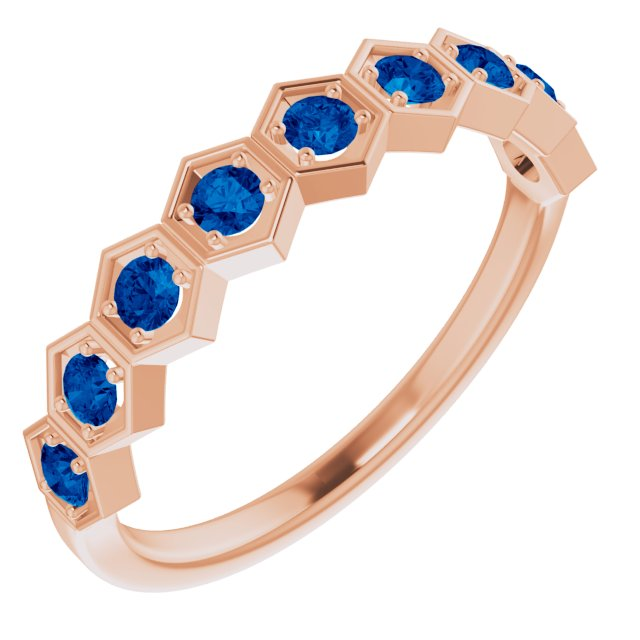 Genuine Chatham Created Sapphire Ring in 14 Karat Rose Gold Chatham Created Genuine Sapphire Stackable Ring