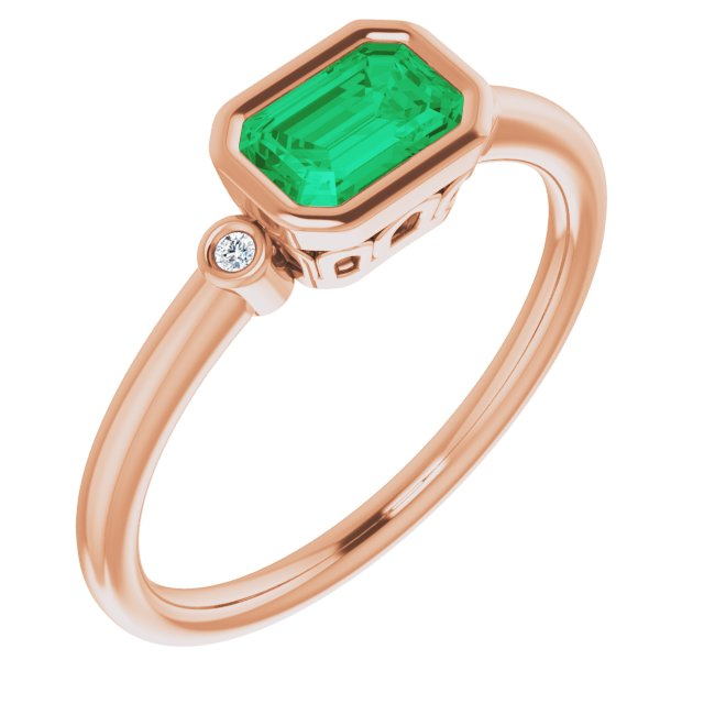 Genuine Created Emerald Ring in 14 Karat Rose Gold Chatham Created Emerald & .02 Carat Diamond Ring