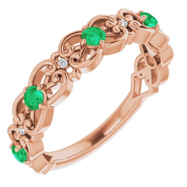 Genuine Chatham Created Emerald Ring in 14 Karat Rose Gold Chatham Created Emerald & .02 Carat Diamond Vintage-Inspired Scroll Ring