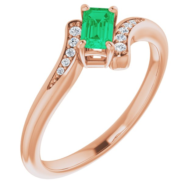 Genuine Chatham Created Emerald Ring in 14 Karat Rose Gold Chatham Created Emerald & .04 Carat Diamond Ring