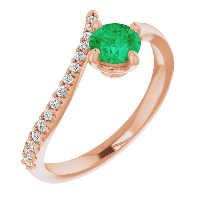 Genuine Chatham Created Emerald Ring in 14 Karat Rose Gold Chatham Created Emerald & 1/10 Carat Diamond Bypass Ring