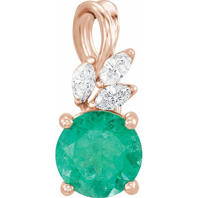 Chatham Created Emerald Pendant in 14 Karat Rose Gold Chatham Created Emerald & 1/10 Carat Diamond Pendant