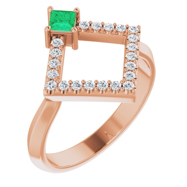 Genuine Chatham Created Emerald Ring in 14 Karat Rose Gold Chatham Created Emerald & 1/5 Carat Diamond Geometric Ring