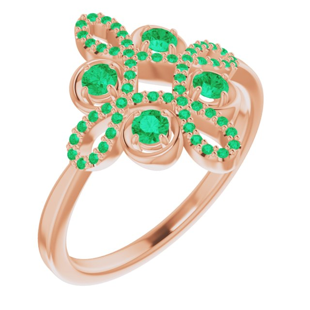 Genuine Chatham Created Emerald Ring in 14 Karat Rose Gold Chatham Created Emerald & 1/6 Carat Diamond Clover Ring