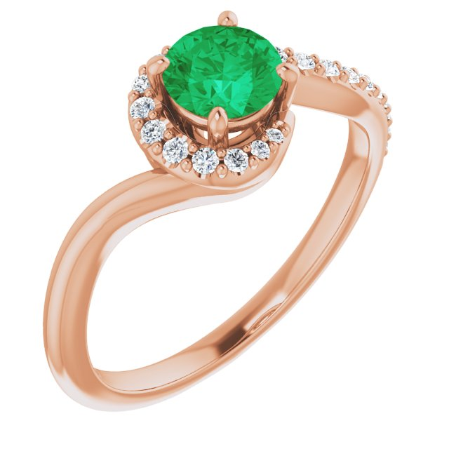 Genuine Chatham Created Emerald Ring in 14 Karat Rose Gold Chatham Created Emerald & 1/6 Carat Diamond Ring