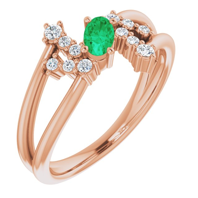 Genuine Chatham Created Emerald Ring in 14 Karat Rose Gold Chatham Created Emerald & 1/8 Carat Diamond Bypass Ring