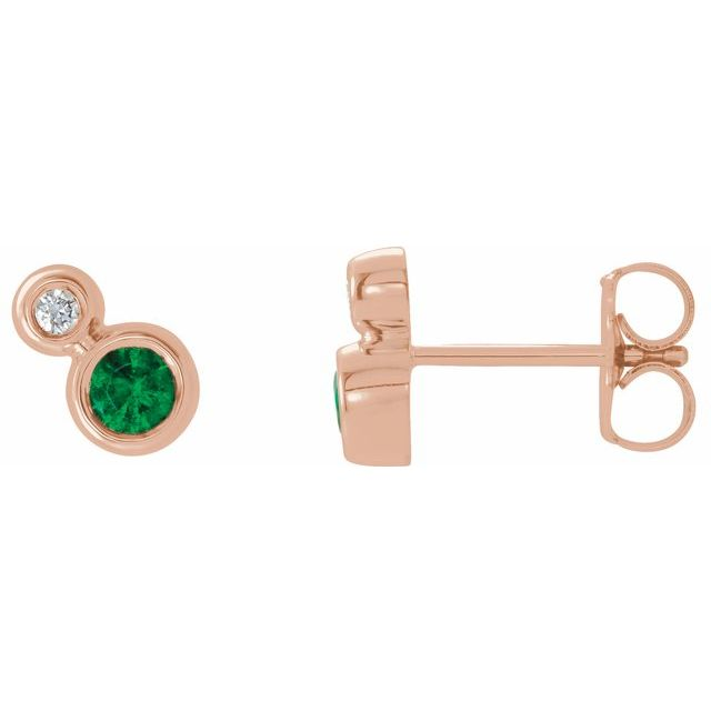 Chatham Created Emerald Earrings in 14 Karat Rose Gold Chatham Created Emerald & 1/8 Carat Diamond Earrings