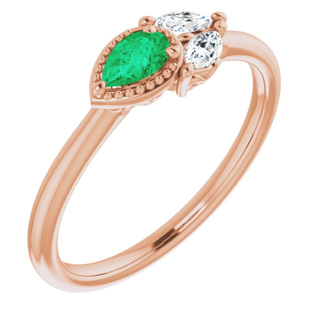 Genuine Chatham Created Emerald Ring in 14 Karat Rose Gold Chatham Created Emerald & 1/8 Carat Diamond Ring
