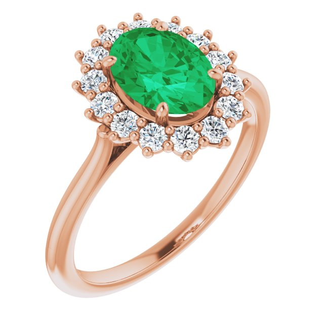 Genuine Chatham Created Emerald Ring in 14 Karat Rose Gold Chatham Created Emerald & 3/8 Carat Diamond Ring