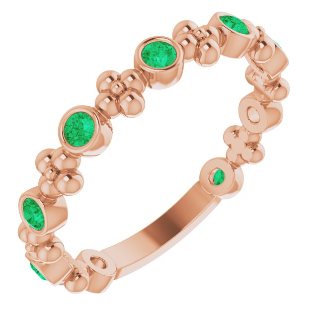 Genuine Chatham Created Emerald Ring in 14 Karat Rose Gold Chatham Created Emerald Beaded Ring