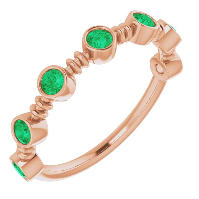 Genuine Chatham Created Emerald Ring in 14 Karat Rose Gold Chatham Created Emerald Bezel-Set Ring