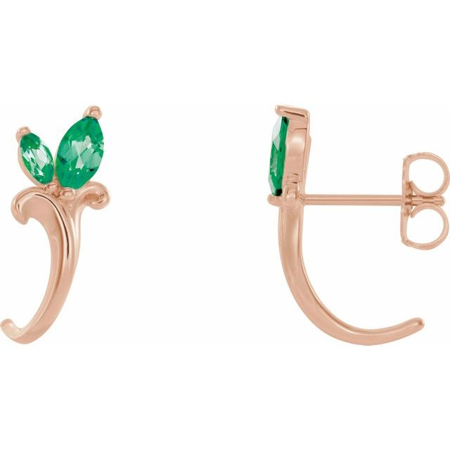 Created Emerald Earrings in 14 Karat Rose Gold Chatham Created Emerald Floral-Inspired J-Hoop Earrings