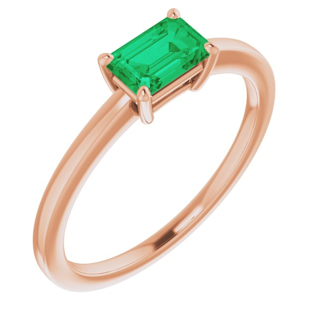 Genuine Chatham Created Emerald Ring in 14 Karat Rose Gold Chatham Created Emerald Ring