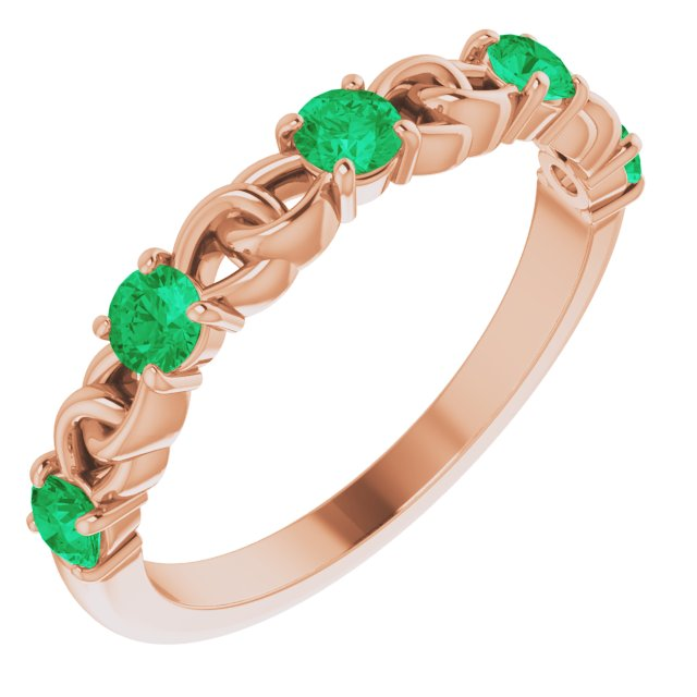 Genuine Chatham Created Emerald Ring in 14 Karat Rose Gold Chatham Created Emerald Stackable Link Ring