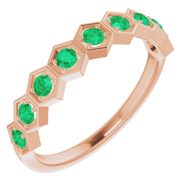 Genuine Chatham Created Emerald Ring in 14 Karat Rose Gold Chatham Created Emerald Stackable Ring