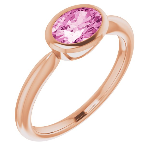 Genuine Chatham Created Sapphire Ring in 14 Karat Rose Gold Chatham Created Pink Sapphire Ring