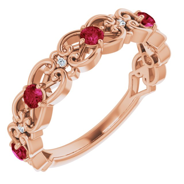 Chatham Created Ruby Ring in 14 Karat Rose Gold Chatham Created Ruby & .02 Carat Diamond Vintage-Inspi Scroll Ring