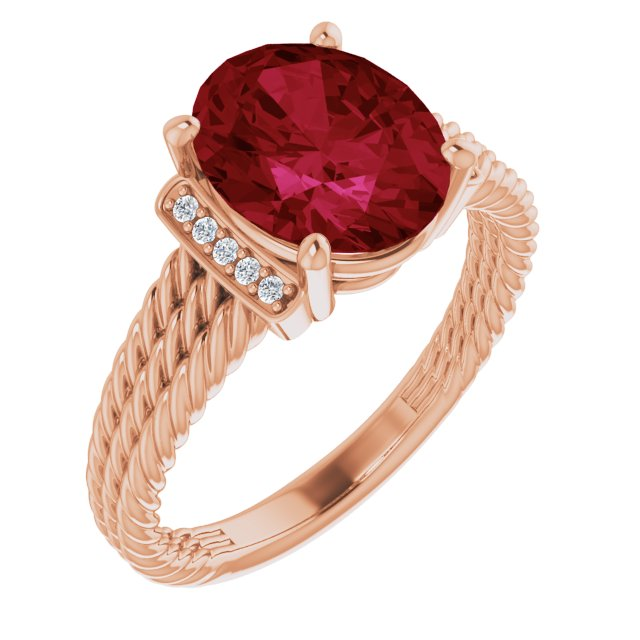 Created Ruby Ring in 14 Karat Rose Gold Chatham Created Ruby & .04 Carat Diamond Ring