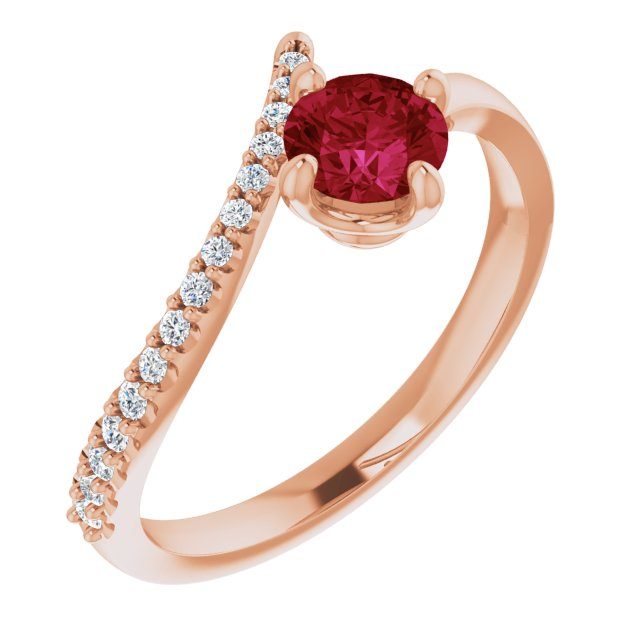 Chatham Created Ruby Ring in 14 Karat Rose Gold Chatham Created Ruby & 1/10 Carat Diamond Bypass Ring