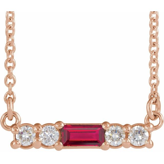 Chatham Created Ruby Necklace in 14 Karat Rose Gold Chatham Created Ruby & 1/5 Carat Diamond 18