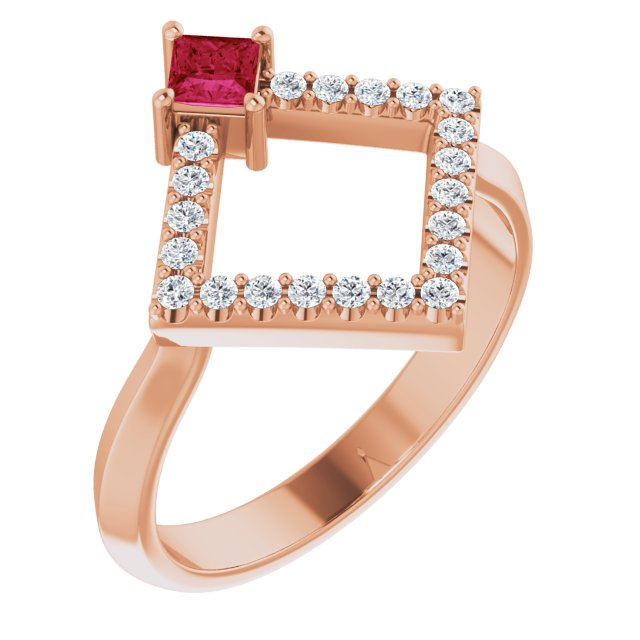 Chatham Created Ruby Ring in 14 Karat Rose Gold Chatham Created Ruby & 1/5 Carat Diamond Geometric Ring