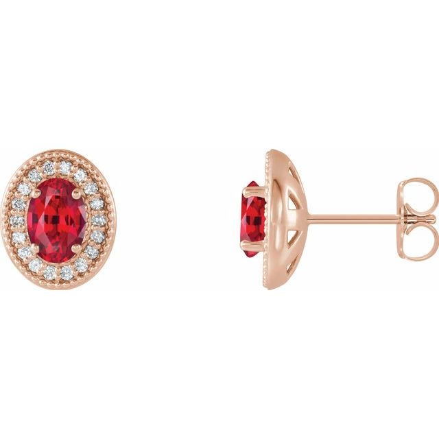 Chatham Created Ruby Earrings in 14 Karat Rose Gold Chatham Created Ruby & 1/5 Carat Diamond Halo-Style Earrings