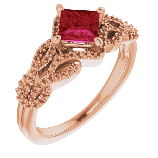 Created Ruby Ring in 14 Karat Rose Gold Chatham Created Ruby & 1/5 Carat Diamond Ring