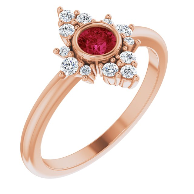 Chatham Created Ruby Ring in 14 Karat Rose Gold Chatham Created Ruby & 1/5 Carat Diamond Ring