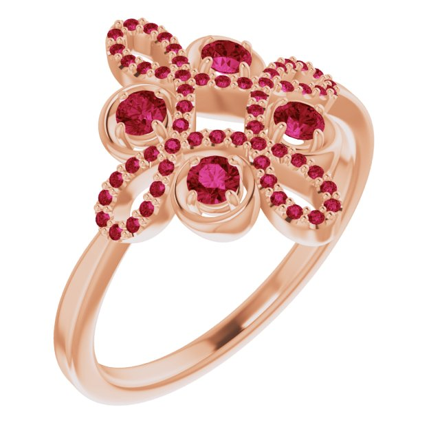 Chatham Created Ruby Ring in 14 Karat Rose Gold Chatham Created Ruby & 1/6 Carat Diamond Clover Ring