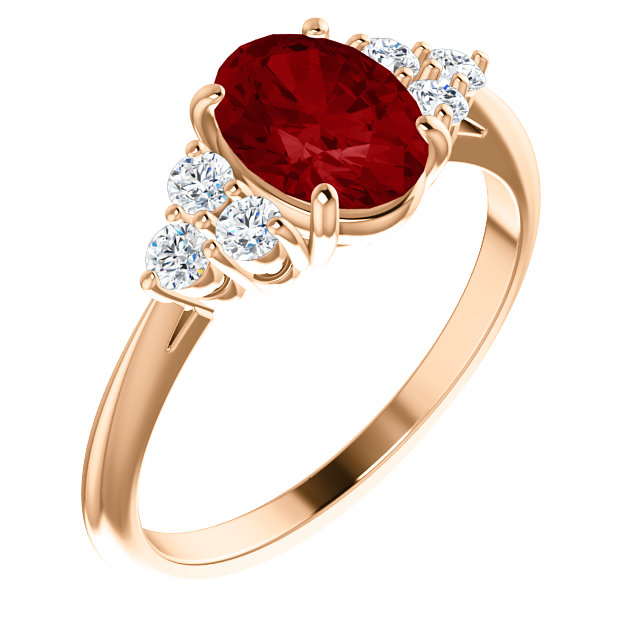 Fine Quality 14 Karat Rose Gold Genuine Chatham Created Created Ruby & 0.17 Carat Total Weight Diamond Ring