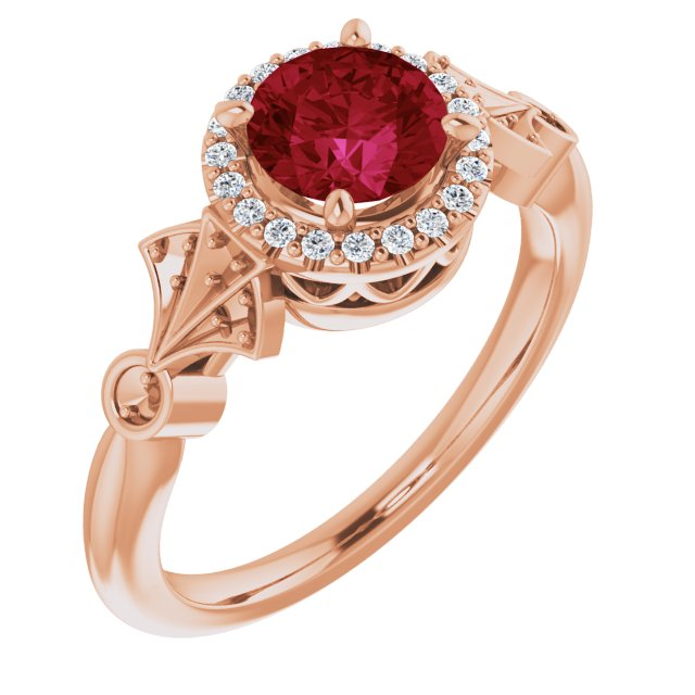Created Ruby Ring in 14 Karat Rose Gold Chatham Created Ruby & 1/6 Carat Diamond Ring