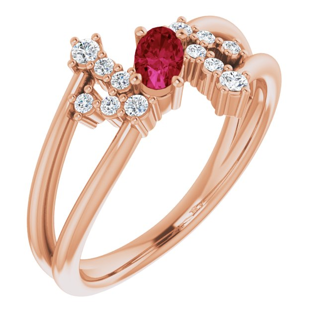 Chatham Created Ruby Ring in 14 Karat Rose Gold Chatham Created Ruby & 1/8 Carat Diamond Bypass Ring