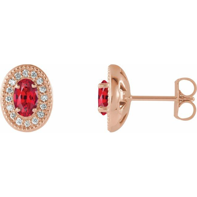 Chatham Created Ruby Earrings in 14 Karat Rose Gold Chatham Created Ruby & 1/8 Carat Diamond Halo-Style Earrings