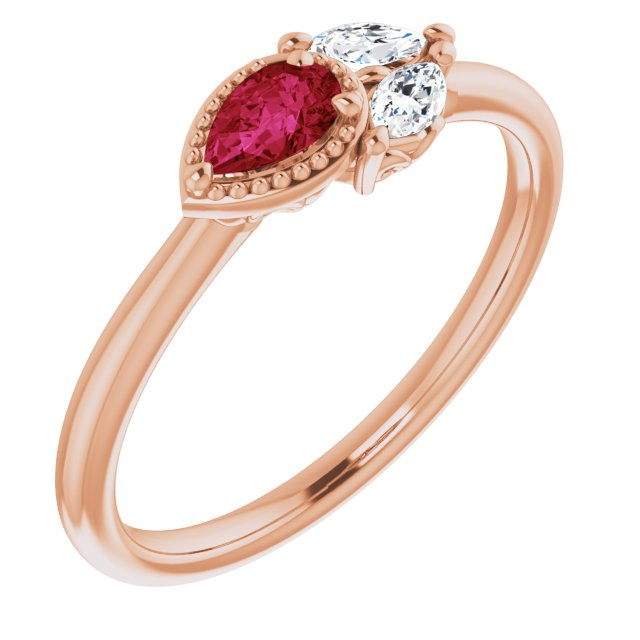Chatham Created Ruby Ring in 14 Karat Rose Gold Chatham Created Ruby & 1/8 Carat Diamond Ring