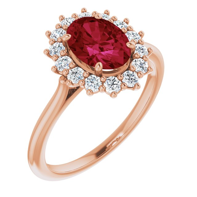 Chatham Created Ruby Ring in 14 Karat Rose Gold Chatham Created Ruby & 3/8 Carat Diamond Ring