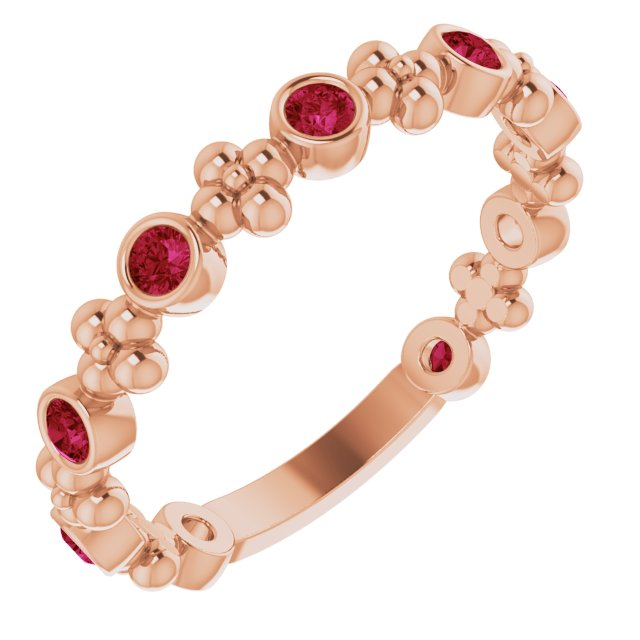 Chatham Created Ruby Ring in 14 Karat Rose Gold Chatham Created Ruby Beaded Ring
