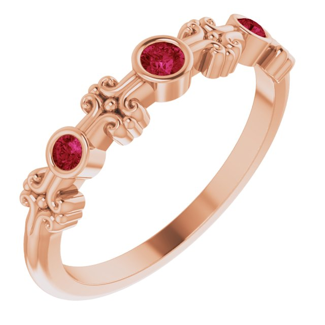 Chatham Created Ruby Ring in 14 Karat Rose Gold Chatham Created Ruby Bezel-Set Ring