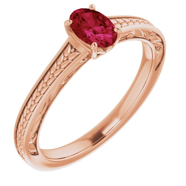 Created Ruby Ring in 14 Karat Rose Gold Chatham Created Ruby Ring