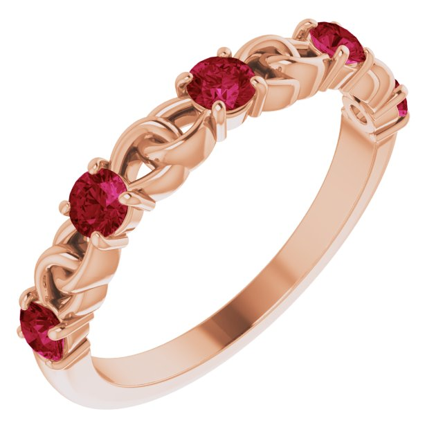 Chatham Created Ruby Ring in 14 Karat Rose Gold Chatham Created Ruby Stackable Link Ring