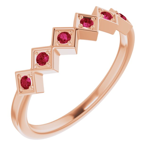 Chatham Created Ruby Ring in 14 Karat Rose Gold Chatham Created Ruby Stackable Ring